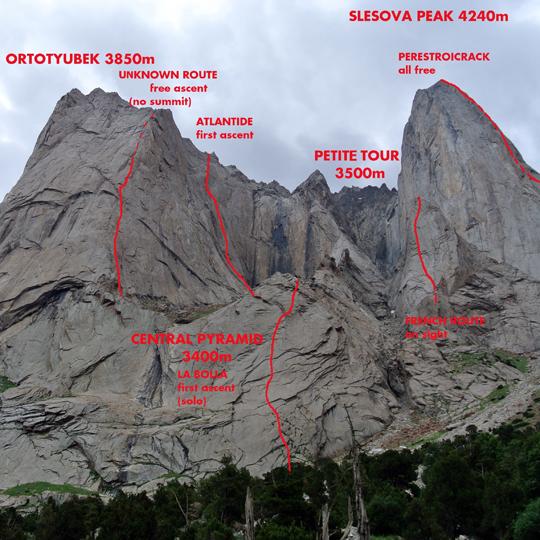 Granitowe turnie doliny Ak-Su  widziane z obozu Włochów. Czerwone linie oznaczają drogi, które przeszedł włoski zespół (fot. Matteo De Zaiacomo)