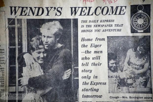 Brytyjska prasa popularna pisała o przejściu przez Boningtona północnej ściany Eigeru w 1962 (źródło. sir Chris Bonnington's Archives)