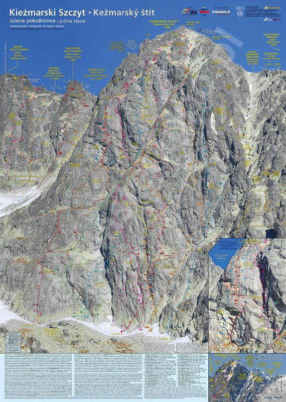 Topo-plakat Kieżmarski Szczyt, ściana południowa - Kežmarský stít, južná stena