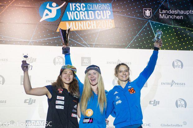 Od lewej: Miho Nonaka, Shauna Coxsey i Melissa Le Neve (fot. Eddie Fowke / IFSC)