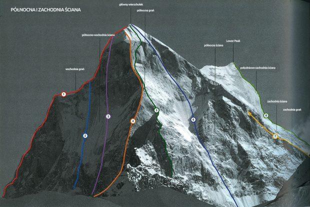 Zespół Kukurowski – Chrzanowski wspinał się na drodze czeskiej oznaczonej nr 6. W tej chwili Łukasz Chrzanowski jest w połowie bariery skalno lodowej czyli pomiędzy dużym śnieżnym polem a dolnymi śniegami.