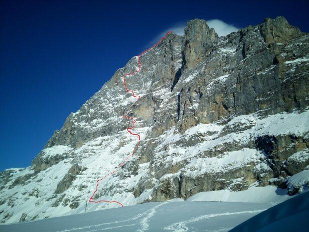 EIGER, Droga Heckmaira, ED2, V+, A0, WI4, 1800 m