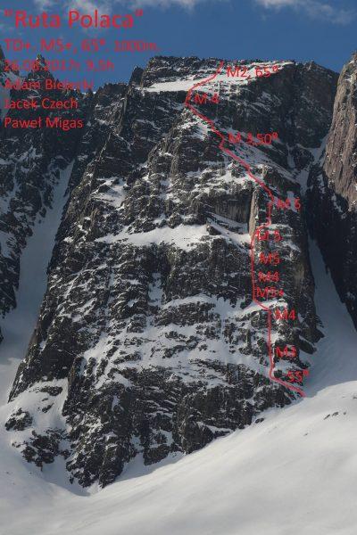 """""""Ruta Polaca"""", Cerro Arenas, Chile, 26.08.2017, TD+, M5+, 65 stopni, 1000 metrów"""