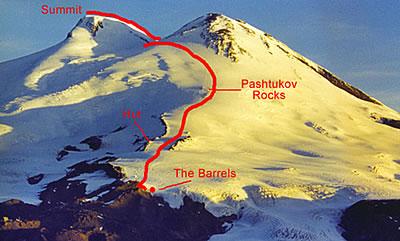 Droga na Elbrus, którą w czasie 3 h 55 min pokonał Urubko (fot. www.alpineascents.com)