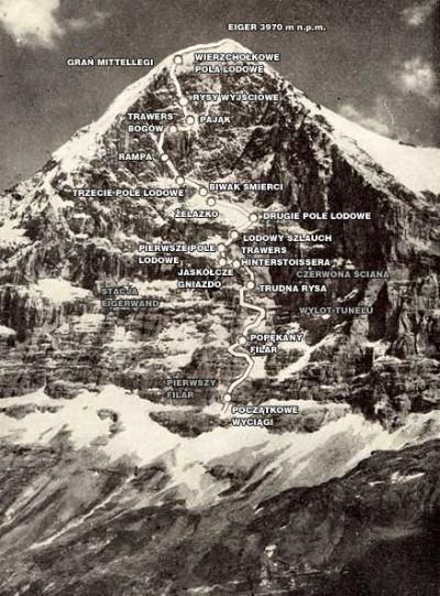 Przybliżona linia przebiegu drogi pierwszych zdobywców północnej ściany z zaznaczonymi punktami orientacyjnymi (fot. Ernst Schudel Photo-Haus Grindelwald – Taternik nr 4 [173], grudzień 1961 – oprac. Sprocket)