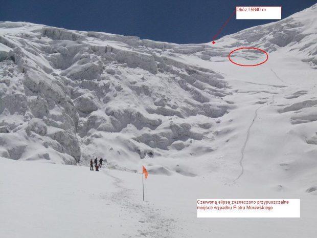 Prawdopodobne miejsce wypadku, powiększenie, poniżej to samo miejsce z bliska (zdjęcia z 2008 roku, źródło Artur Hajzer)