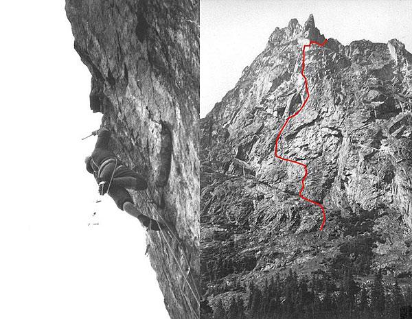 Janusz Kurczab na bloku szczytowym Młynarczyka, 1964 rok (fot. Maciej Pogorzelski) oraz obok linia drogi (fot. i topo Janusz Kurczab)