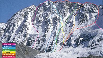 Południowa ściana Shisha Pangma. Droga wspinaczki Stecka to linia czarna (topo Desnivel)