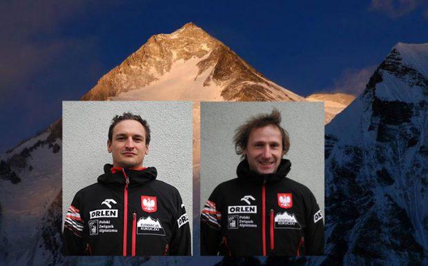 Adam Bielecki i Janusz Gołąb, w tle Gasherbrum I
