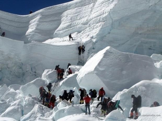 Wyprawa komercyjna pokonuje Icefall na drodze na Mount Everest (fot. alanarnette.com)