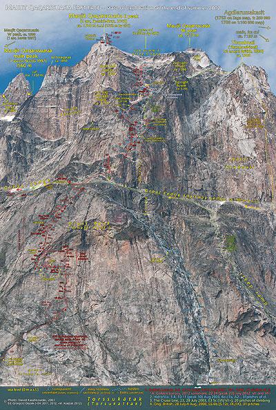 climbing route, droga wspinaczkowa, topo, fototopo, photo-topo, Golden Lunacy, David Kaszlikowski, Dawid Kaszlikowski, Grzegorz Głazek, Grzegorz Glazek, Marcin Księżak, Marcin Ksiezak, Hidrofilia, Maujit Qaqarssuasia, Maujuit Qaqarssuasia, Qoqarssasia, Agdlerussakasit, Thumbnail, Devil's Thumbnail, Torssukatak Sound, Torssukatak Fjord, Torsukattak, Torssuqatoq, South Greenland, Grenlandia Południowa, PZA, Zespół PZA ds. Golden Lunacy, Zespół PZA ds GL, Irish-Australian 2003 route, British 2000 route, Ian Parnell