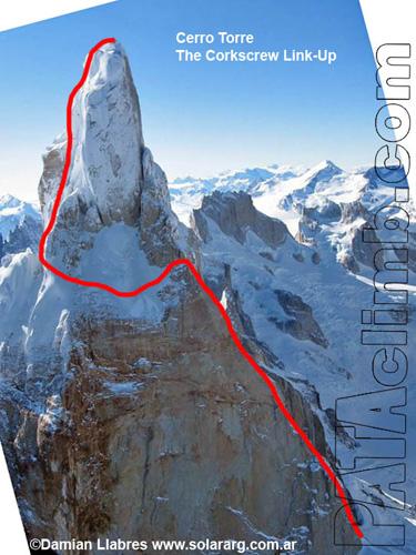 "Linia ""The Corkscrew"" na Cerro Torre (fot. Damian Llabres / www.solararg.com.ar)"