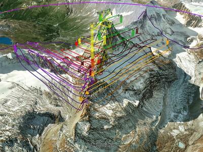 Schemat przelotów dronów senseFly nad Matterhornem