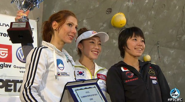 Podium Pucharu Świata 2013, od lewej: Mina Markovic (2.), Jain Kim (1.), Momoka Oda (3)