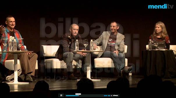 Adam Bielecki, Krzysztof Wielicki, Denis Urubko i Bernadette McDonald podczas panelu na Mendi Film Festival w Bilbao