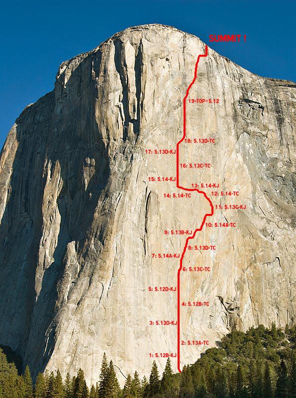 Schemat projektu Dawn Wall na El Capitanie (fot. arch. rockandice.com)