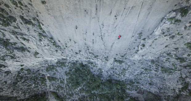 """Aleks na """"El Sendero Luminoso"""" 7c, 500 m (fot. Cedar Wright)"""