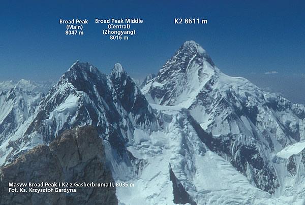 Broad Peak Middle (Central) 8016 m to najwybitniejszy dziewiczy szczyt ośmiotysięczny zdobyty przez Polaków. Kazimierz Głazek kierował piątką zdobywców z Wrocławia w 1975 roku. Widok z Gasherbruma II, 8035 m od pd.-wsch. (fot. Ks. Krzysztof Gardyna)