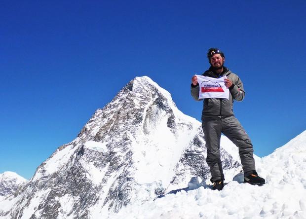 Kacper Tekieli w obozie III po nieudanym ataku szczytowym na Broad Peak Middle
