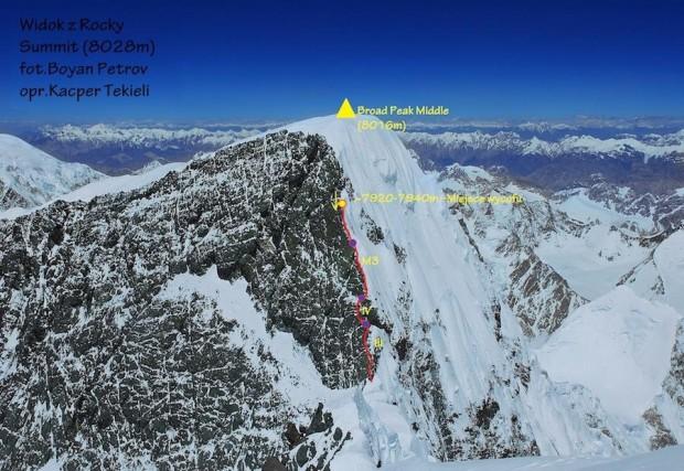Widok z Rocky Summit na Broad Peak Middle z trasą polskiej próby (fot. Bojan Petrow, topo Kacper Tekieli)