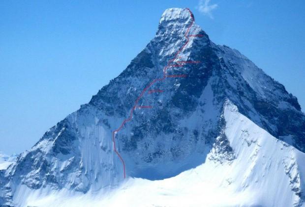 Przebieg drogi Schmidów na Matterhorn (fot. camtocamp.org)