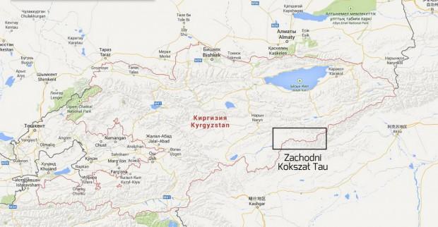 Mapa Kirgistanu i Zachodnie Kokszał Tau (rys. Pik Kosmos 2014)
