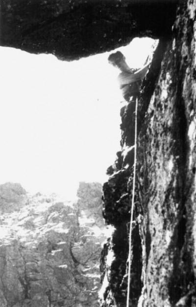 Maciej Popko w czasie przejścia direttissimy Mniszka, 1962 (fot. J. Nyka, arch. J. Kurczaba)