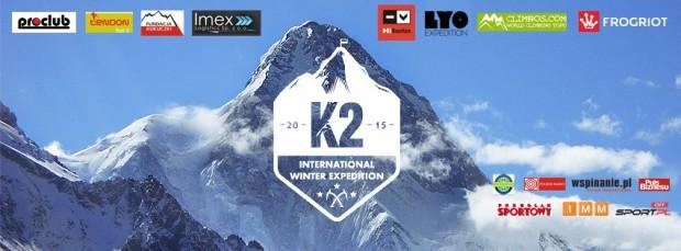 Plansza sponsorska zimowej wyprawy na K2