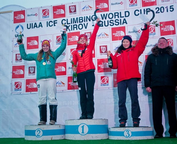 Podium Pucharu  Świata 2015: 1. Angelika Rainer, 2. Petra Klinger, 3. HanNaRai Song