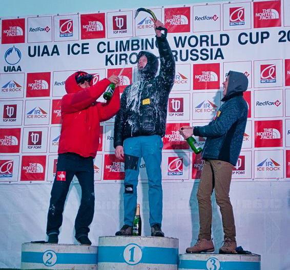 Radość zwycięzców PŚ 2015: 1. Maksim Tomiłow, 2. HeeYong Park, 3. Aleksiej Tomiłow
