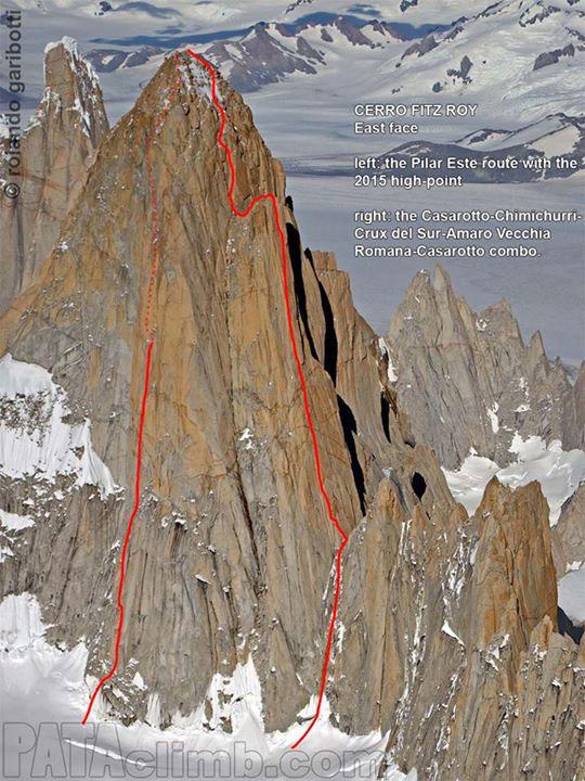 """Wschodnia ściana Fitz Roy z linią """"Crux del Sur"""" i nowego wariantu (fot. Rolando Garibotti / pataclimb.com)"""