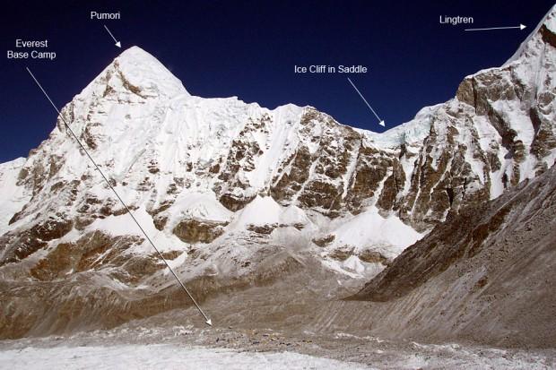 Lawinę wywołaną trzęsieniem ziemi rozpoczęło urwanie się lodowych bloków z siodła pomiędzy Pumori i Lingtren (fot. Eric Simonson)