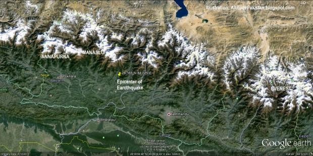 Rejon Mount Everest z zaznaczonym epicentrum trzęsienia ziemi (fot. alltitudepakistan.blogspot.com)