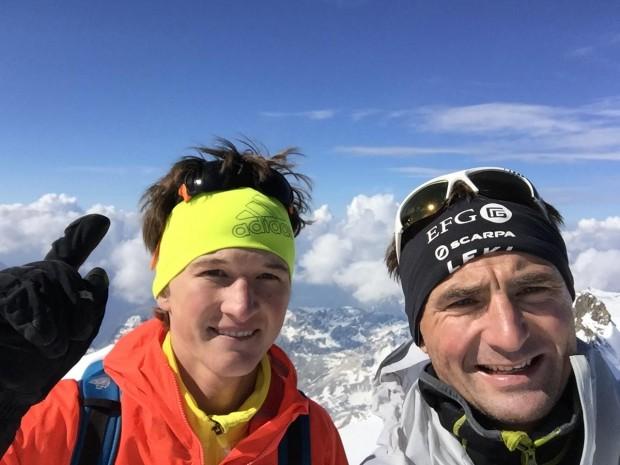 Michi Wohlleben i Ueli Steck na Piz Bernina pierwszym szczycie z 82 do zdobycia