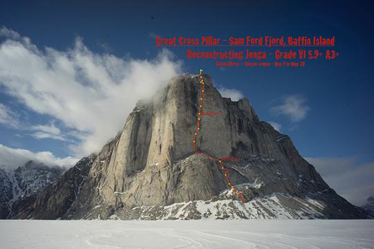 """Great Cross Pillar z zaznaczoną linią drogi  """"Deconstructing Jenga"""" (fot. Cheyne Lempe)"""