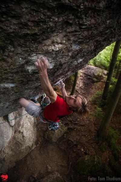 "Julius Westphal na ""Action Directe""  (fot. Tom Thudium / Wild Climb)"