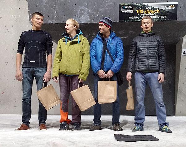 Zako Boulder Power 2015 - podium panów, od lewej Serhij Topiszko, Piotrek Czarnecki, Aleksander Romanowski i Kamil Ferenc (fot. Ilona Łęcka)