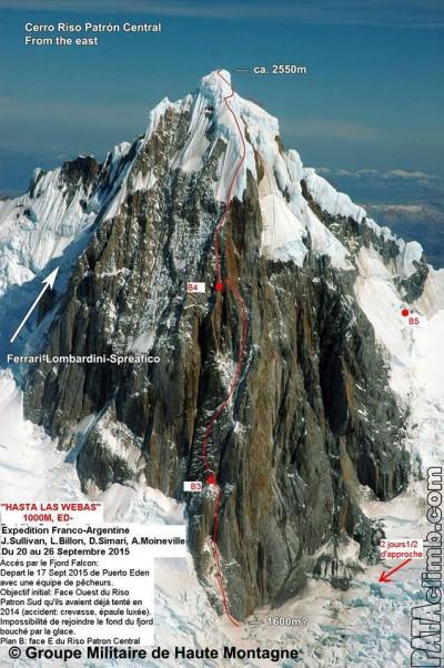 "Linia drogi ""Hasta las Webas"" (ED-, 1000 m) na wschodniej ścianie Cerro Riso Patrón Central (fot. Antoine Moineville)"