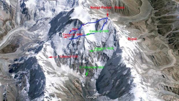 Możliwe warianty wejścia i zejścia w górnych partiach Nanga Parbat
