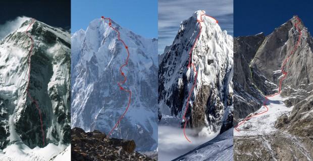 Przejścia nagrodzone Złotymi Czekanami za rok 2015: Talung, Gave Ding, Cerro Riso Patron, Cerro Kinshtwar
