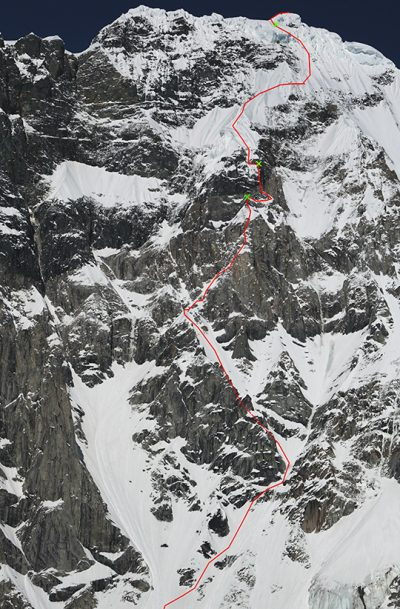 The West Face Direct (M6 5.10X A2+ 95 stopni, 1800 m), Celeno Peak