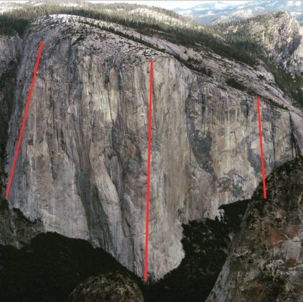 3 x El Capitan, od lewej:  Lurking Fear, The Nose i Zodiac