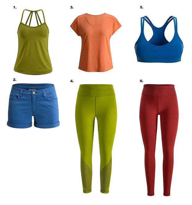 Nowe super wygodne produkty dla kobiet w stonowanej kolorystyce: 1. Sister Superior Tank - Women's, 2. Stretch Font Shorts - Women's, 3. Pale Fire Tee - Women's, 4. Equinox Capris - Women's, 5. Separate Reality Bra - Women's, 6. Levitation Pants - Women's