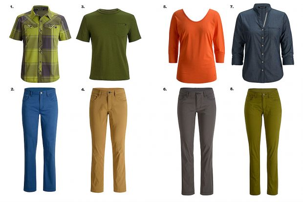 Komplementarna kolekcja odzieży: 1. Technician Shirt, 2. Stretch Font Pants, 3. Cottonwood Tee, 4. Creek Pants, 5. Desert Song Tunic - Women's, 6. Creek Pants - Women's, 7. Chambray Modernist Shirt - Women's, 8. Stretch Font Pants - Women's