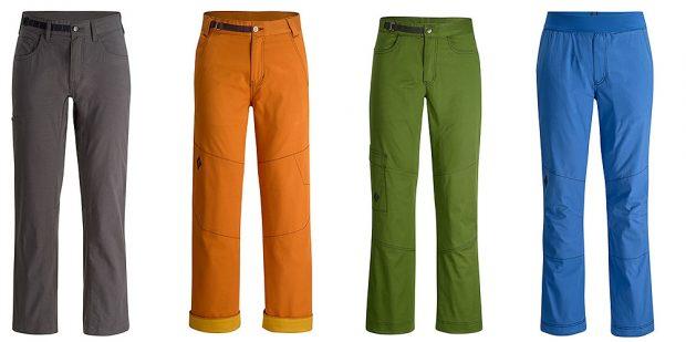 Spodnie męskie, od lewej: Lift Off Pants, Dogma Pants, Credo Pants oraz Notion Pants