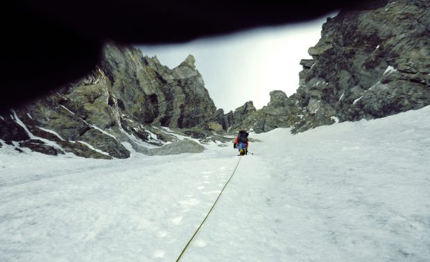 Marek Holecek na nowej drodze na Gasherbrum I