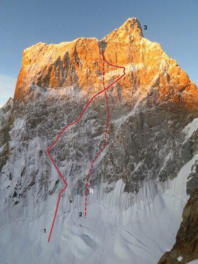 Linia ubiegłorocznej próby (1) zespołu Scott Adamson i Kyle Dempster na północnej ścianie Ogre II. (2) linia ucieczki ze ściany po wypadku. (R) Miejsce wyrwania stanowiska (fot. Kyle Dempster / American Alpine Journal)