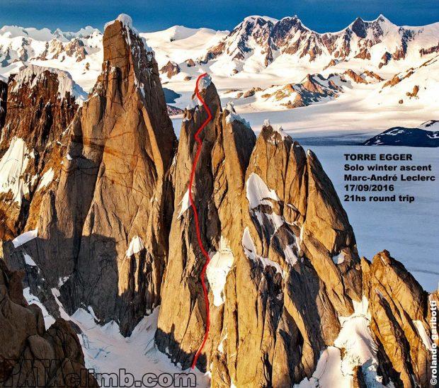 Linia wspinaczki Marc-André Leclerca na Torre Egger (fot. i oprac. PATAclimb.com)