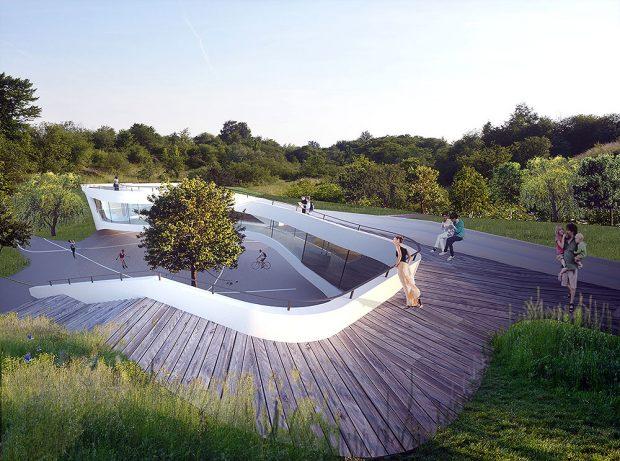 Centrum edukacji ekologicznej zostało wkopane w teren