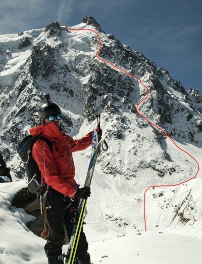 Andrzej Bargiel i przebieg zjazdu północną ścianą Aiguille du Midi